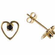 9ct Yellow gold Blue Sapphire in heart stud earrings